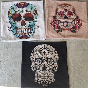 Sugar Skull Pillow Covers Lot 17x17
